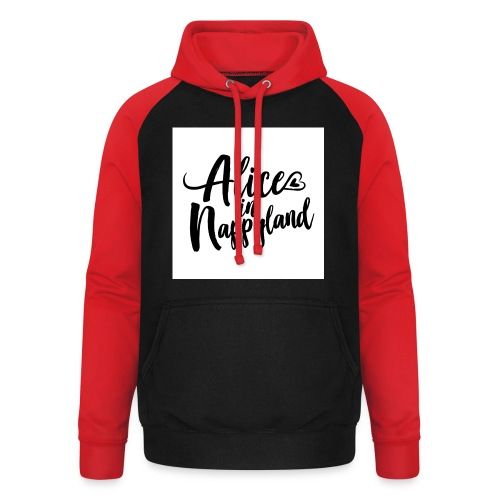 Alice in Nappyland Typography Black 1080 1 - Unisex Baseball Hoodie