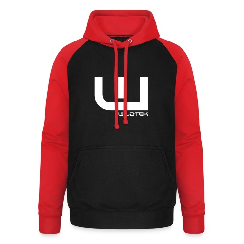 Wildtek Logo White - Unisex Baseball Hoodie