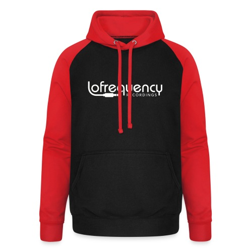 Lofrequency Recordings Classic White Logo - Unisex Baseball Hoodie