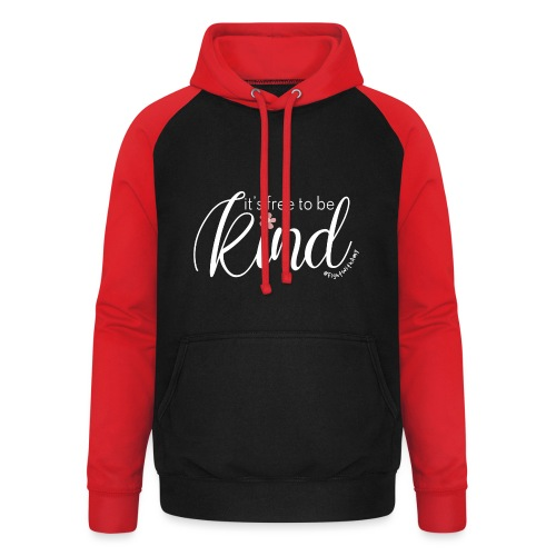 Amy's 'Free to be Kind' design (white txt) - Unisex Baseball Hoodie