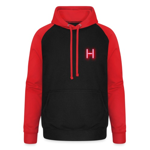 H Red Neon - Sudadera con capucha de béisbol unisex