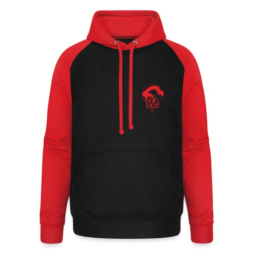 Sea of red logo - small red - Unisex Baseball Hoodie