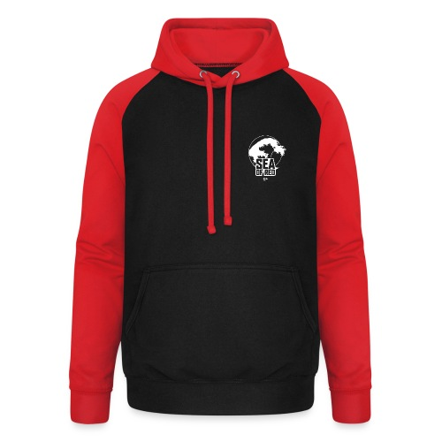 Sea of red logo - white small - Unisex Baseball Hoodie