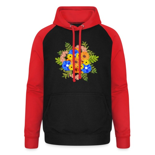 Blue Flower Arragement - Unisex Baseball Hoodie