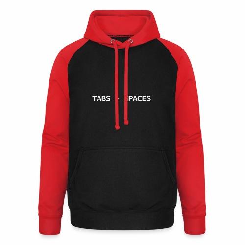 Tabs vs Spaces - Programmer's Tee - Unisex Baseball Hoodie