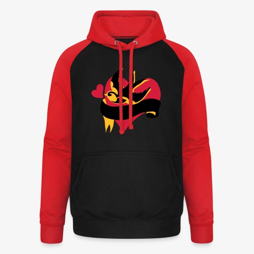 retro tattoo bird with heart - Unisex Baseball Hoodie