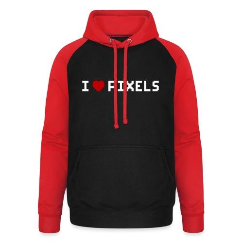 I Love Pixels - Unisex baseball hoodie