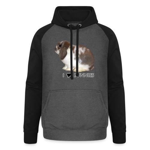 I Love Bunnies Luppis - Unisex baseball-huppari