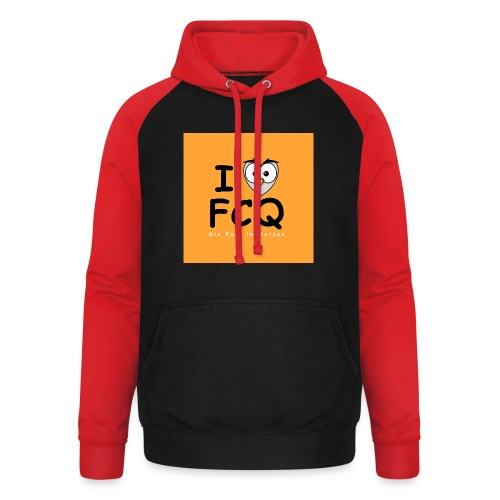 I Love FCQ button orange - Unisex Baseball Hoodie