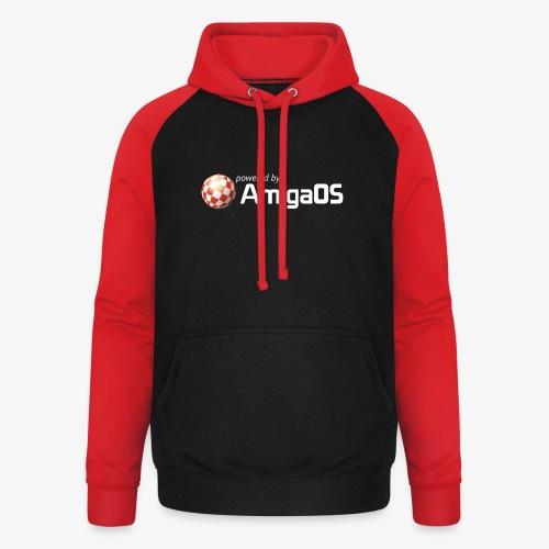 PoweredByAmigaOS white - Unisex Baseball Hoodie