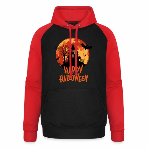 Bloodmoon Haunted House Halloween Design - Unisex Baseball Hoodie