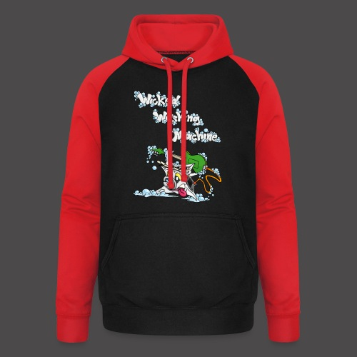 Wicked Washing Machine Cartoon and Logo - Unisex baseball hoodie