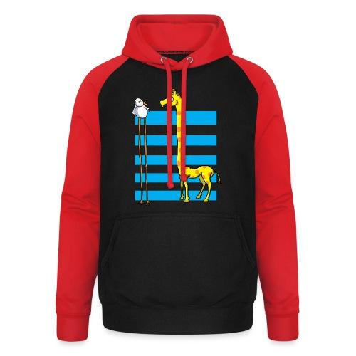 La girafe et l'échassier - Sweat-shirt baseball unisexe