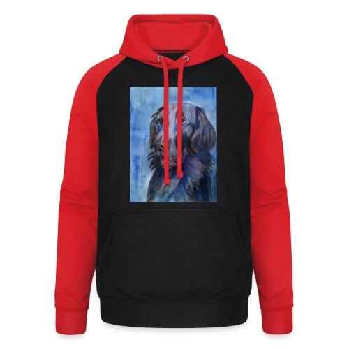 flatcoated retriever - watercolor - Unisex baseball hoodie