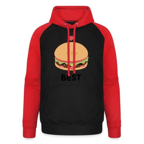hamburger - Felpa da baseball con cappuccio unisex