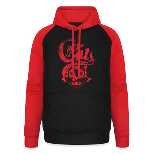 All the cats love me - Unisex Baseball Hoodie