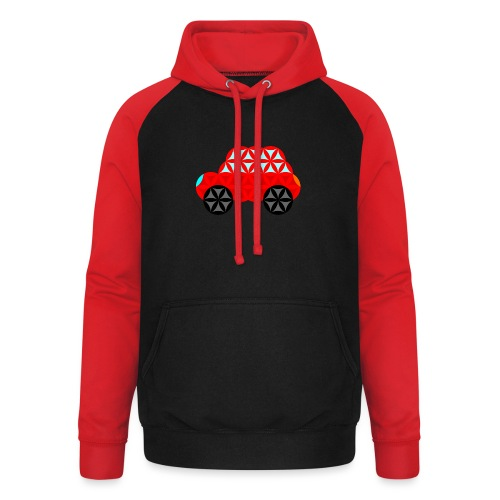 The Car Of Life - M01, Sacred Shapes, Red/R01. - Unisex Baseball Hoodie