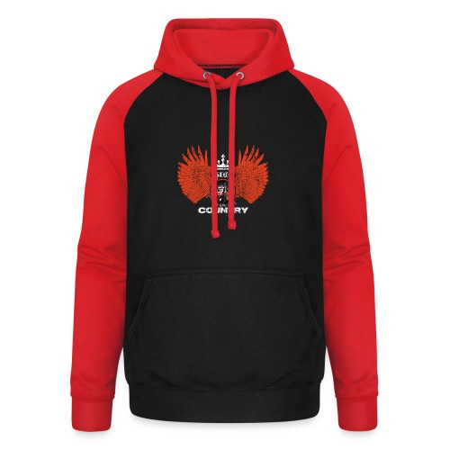 WINGS King of the country wit rood op zwart - Unisex baseball hoodie