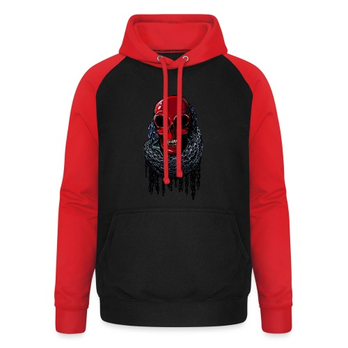 RED Skull in Chains - Unisex Baseball Hoodie