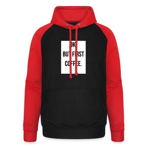 flat 800x800 075 fbut first coffee - Unisex baseball hoodie