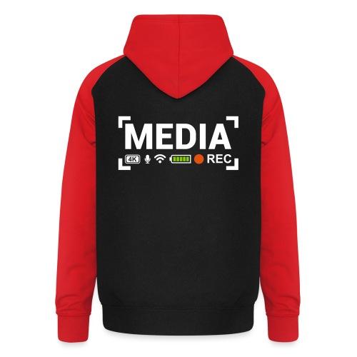 MEDIA Crew - Felpa da baseball con cappuccio unisex