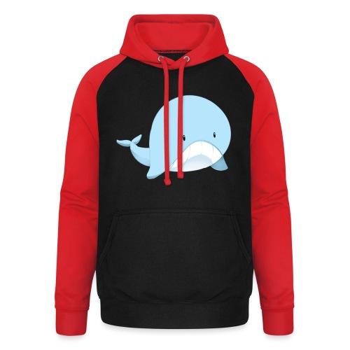 Whale - Felpa da baseball con cappuccio unisex