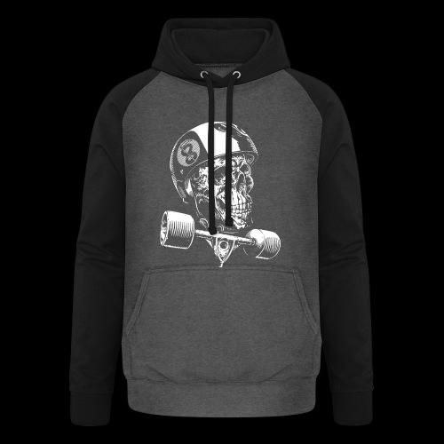 Skull Longboard Rider - negative print - Sweat-shirt baseball unisexe