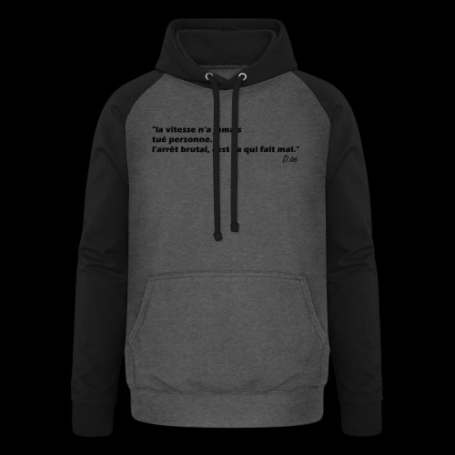 vitesse (noir) - Sweat-shirt baseball unisexe