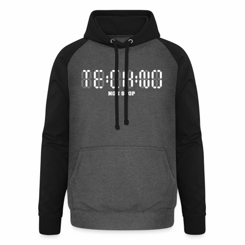 Techno Non Stop Digital Uhr - all night all day - Unisex Baseball Hoodie
