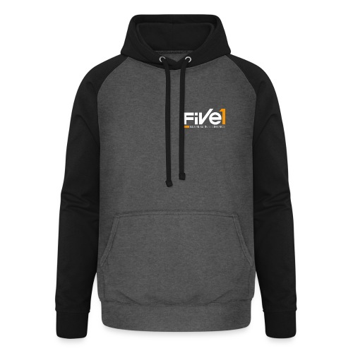 Five1 LogoClaim RGB weiss Screen png - Unisex Baseball Hoodie