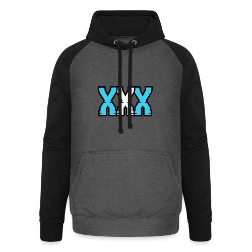 XXX (Blue + White) - Unisex Baseball Hoodie