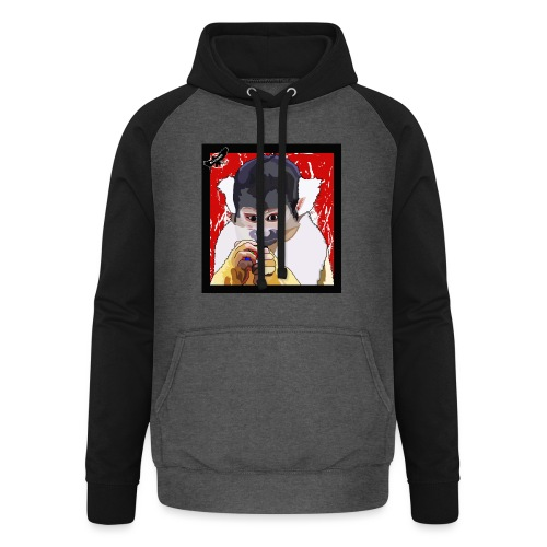 'Clever Monkey 2' by BlackenedMoonArts, w. logo - Unisex baseball hoodie