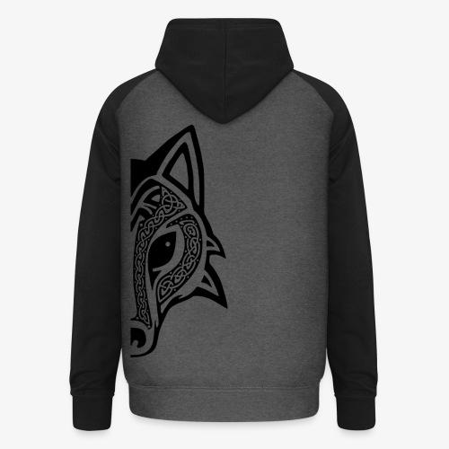 Celtic Wolf half - Unisex Baseball Hoodie