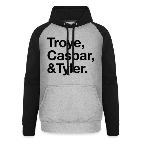 TROYE CASPAR AND TYLER - YOUTUBERS - Felpa da baseball con cappuccio unisex