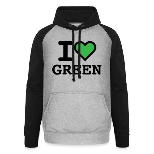i-love-green-2.png - Felpa da baseball con cappuccio unisex