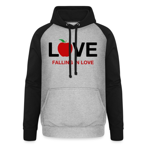 Falling in Love - Black - Unisex Baseball Hoodie