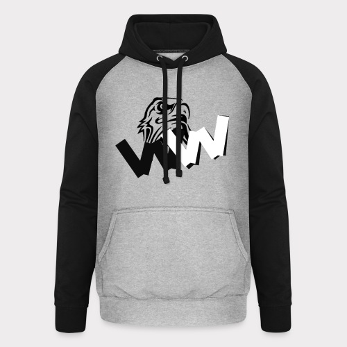 White and Black W with eagle - Unisex Baseball Hoodie