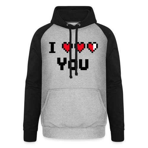 I pixelhearts you - Unisex baseball hoodie
