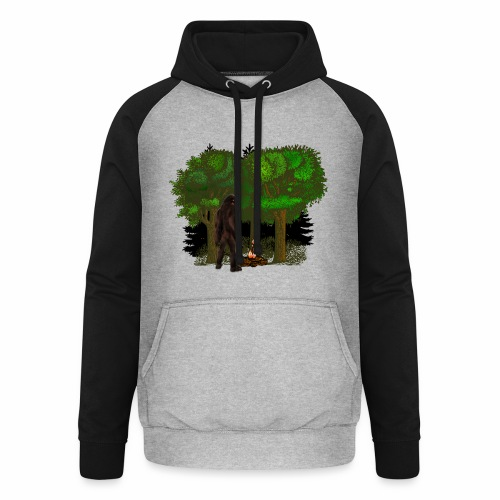 Bigfoot Campfire Forest - Unisex Baseball Hoodie