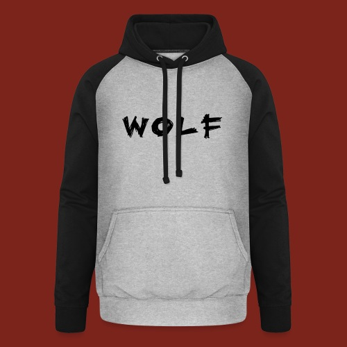 Wolf Font png - Unisex baseball hoodie