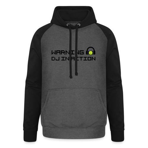 Warning DJ in Action - Unisex baseball hoodie