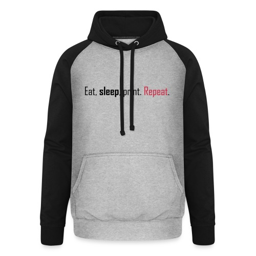 Eat, sleep, print. Repeat. - Unisex Baseball Hoodie