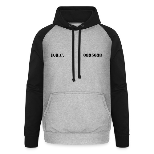 Department of Corrections (D.O.C.) 2 front - Unisex Baseball Hoodie