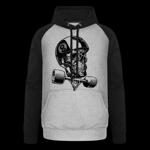 Skull Longboard Rider - positive print - Sweat-shirt baseball unisexe
