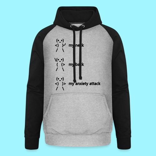 neck back anxiety attack - Unisex Baseball Hoodie