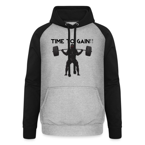 TIME TO GAIN! by @onlybodygains - Unisex Baseball Hoodie