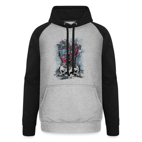rock n roll skulls - Unisex baseball hoodie