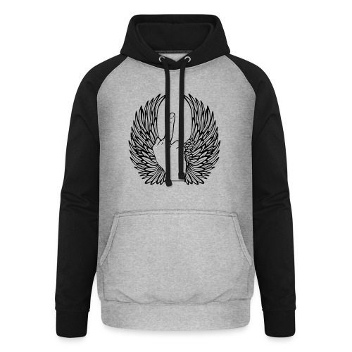middle finger with wings - Unisex baseball hoodie