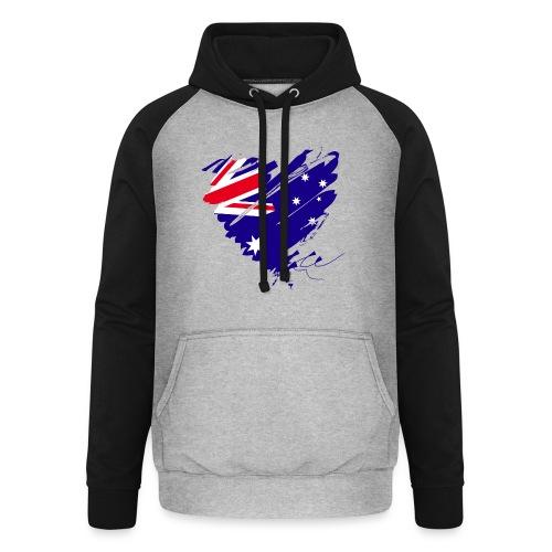 Australien Sydney Kontinent Grunge Herz Fahne - Unisex Baseball Hoodie