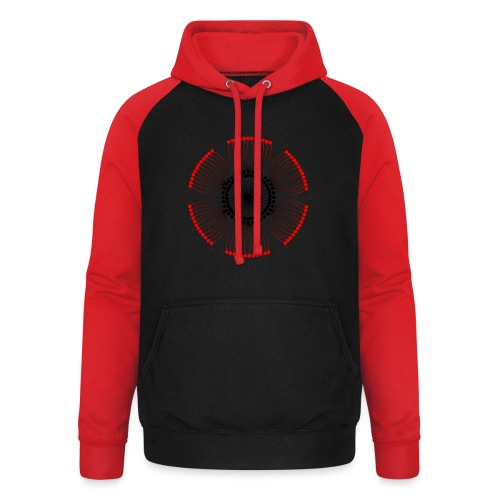 Red Poppy Seeds Mandala - Unisex Baseball Hoodie